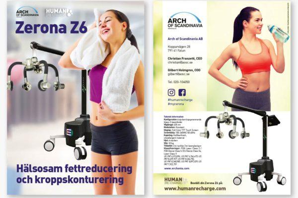 8-sidig broschyr framtagen av Xtrovert Media Reklambyrå för marknadsföring av medicintekniska lasrar. Broschyrens fram- och baksida.