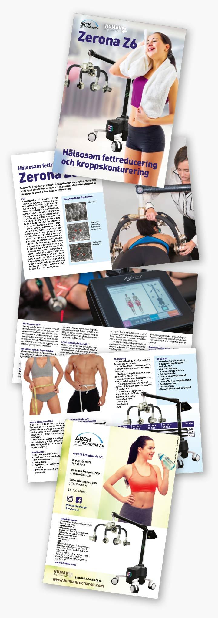 8-sidig broschyr framtagen av Xtrovert Media Reklambyrå för marknadsföring av medicintekniska lasrar.