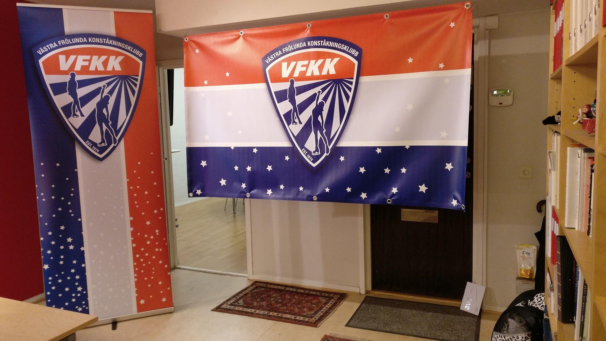 Rollup och vepa samt utformning av nytt klubbmärke (logotyp) samt grafisk profil till VFKK, Västra Frölunda Konståkningsklubb.