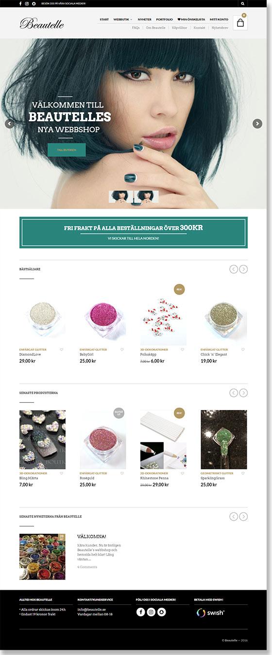 E-handel för Beautelle gjord av Xtrovert Media