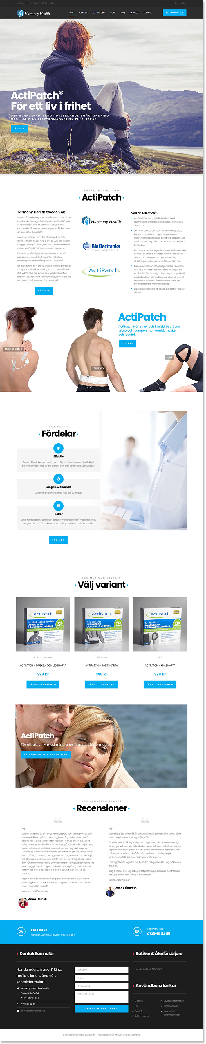 Ny webbsida till Harmony Health, generalagent för Actipatch i Sverige, gjord av Xtrovert Media Reklambyrå.