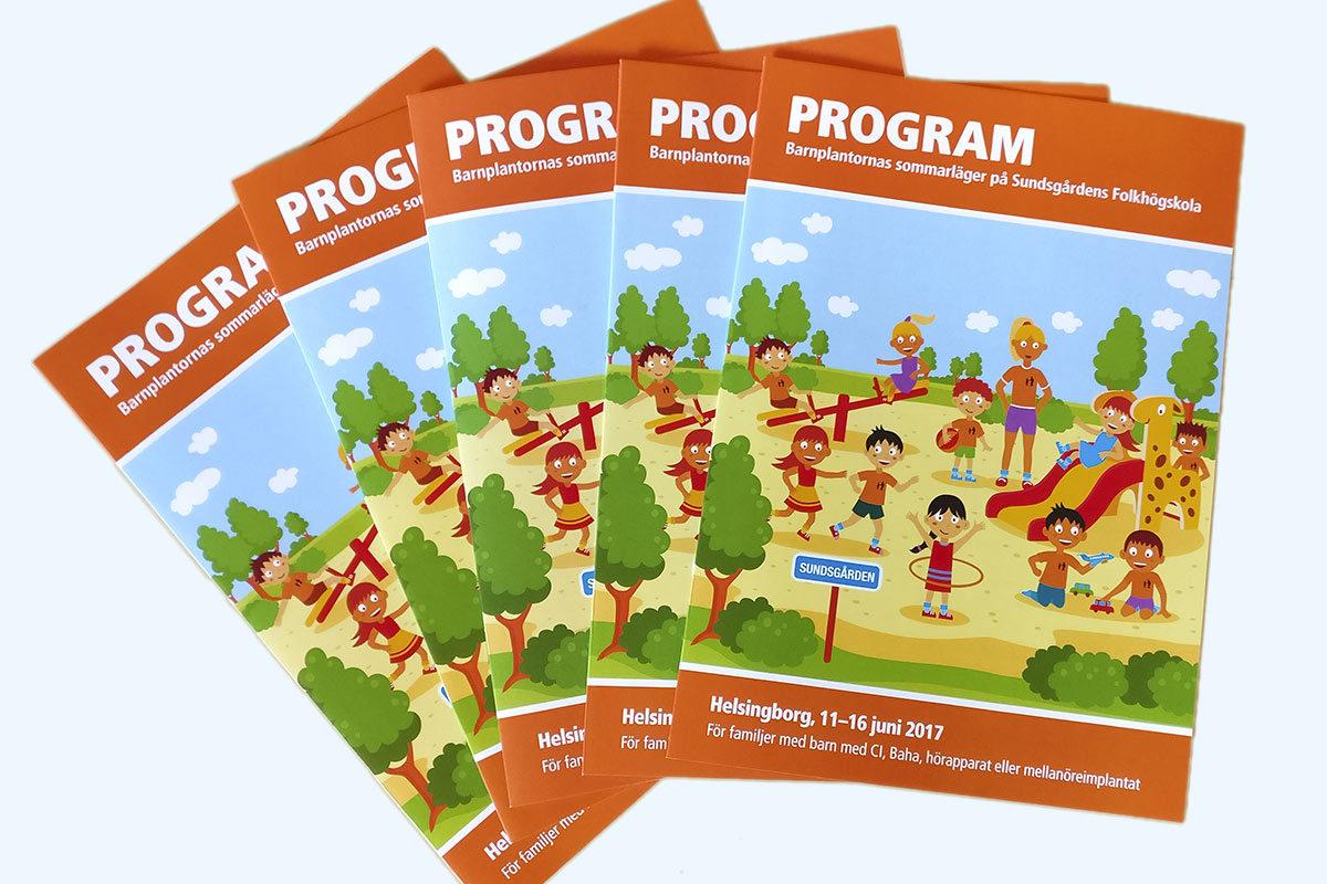 Programmet för Barnplantornas sommarläger på Sundsgården - skapat av Xtrovert Media