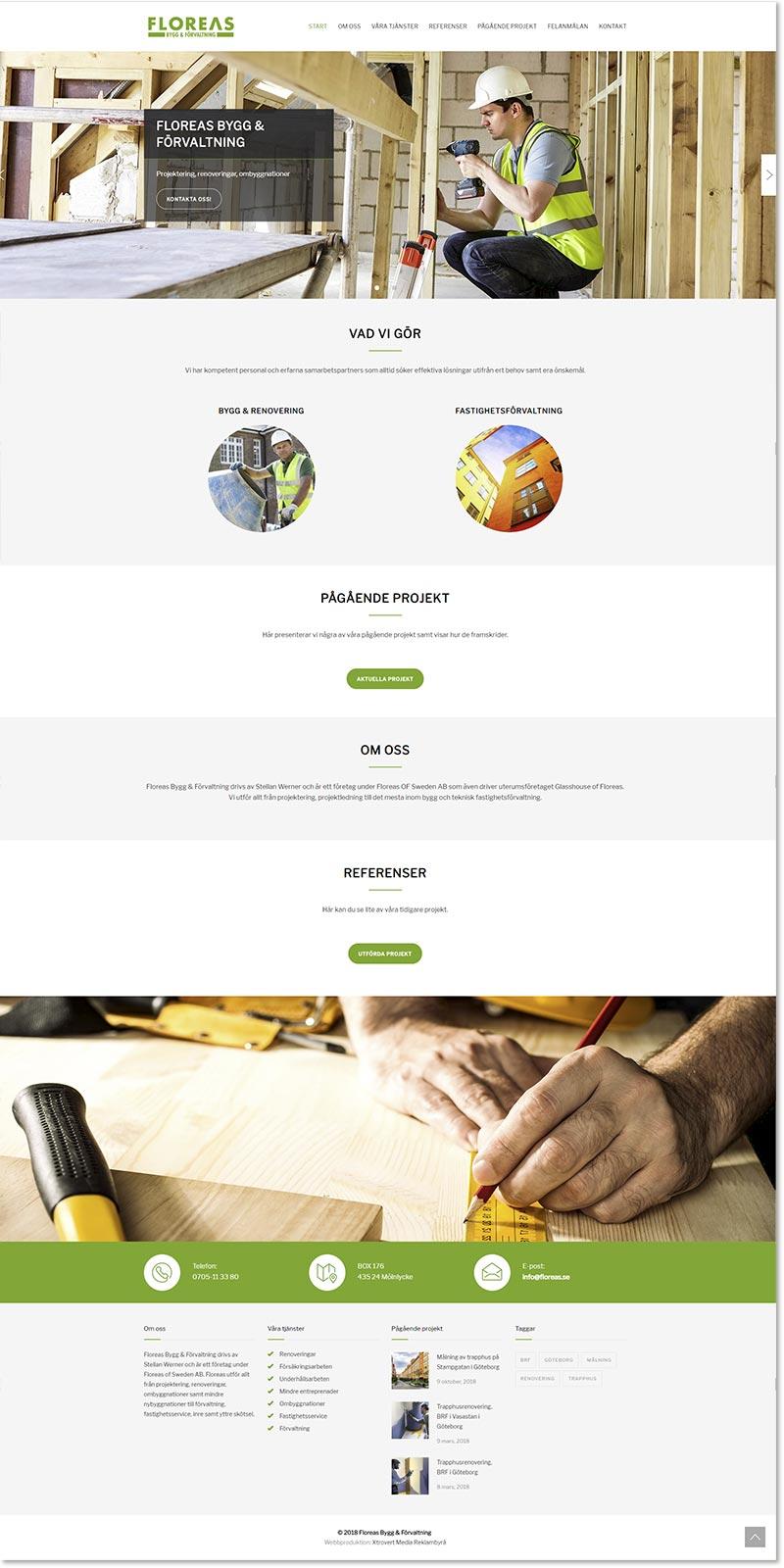 Webbsida och grafisk profil till Floreas Bygg & Förvaltning av reklambrån Xtrovert Media i Göteborg.