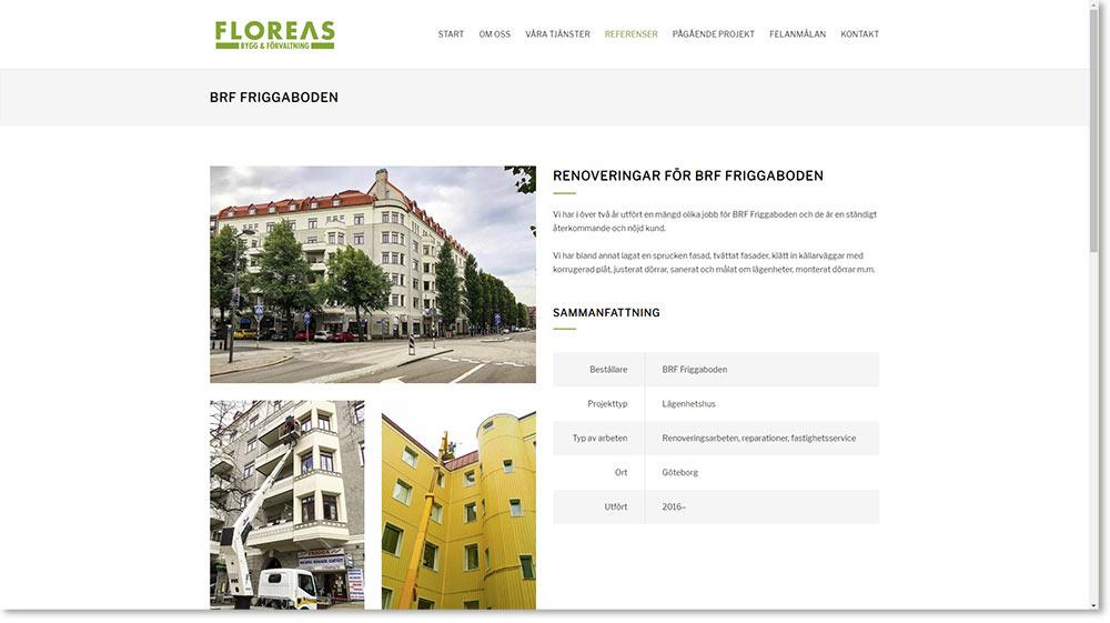Exempel på en av Floreas Bygg & Förvaltnings referenssidor.