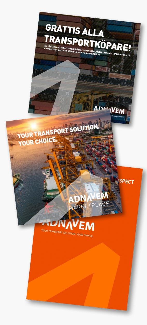 Exempel på några trycksaker, broschyrer och foldrar till Adnavem.