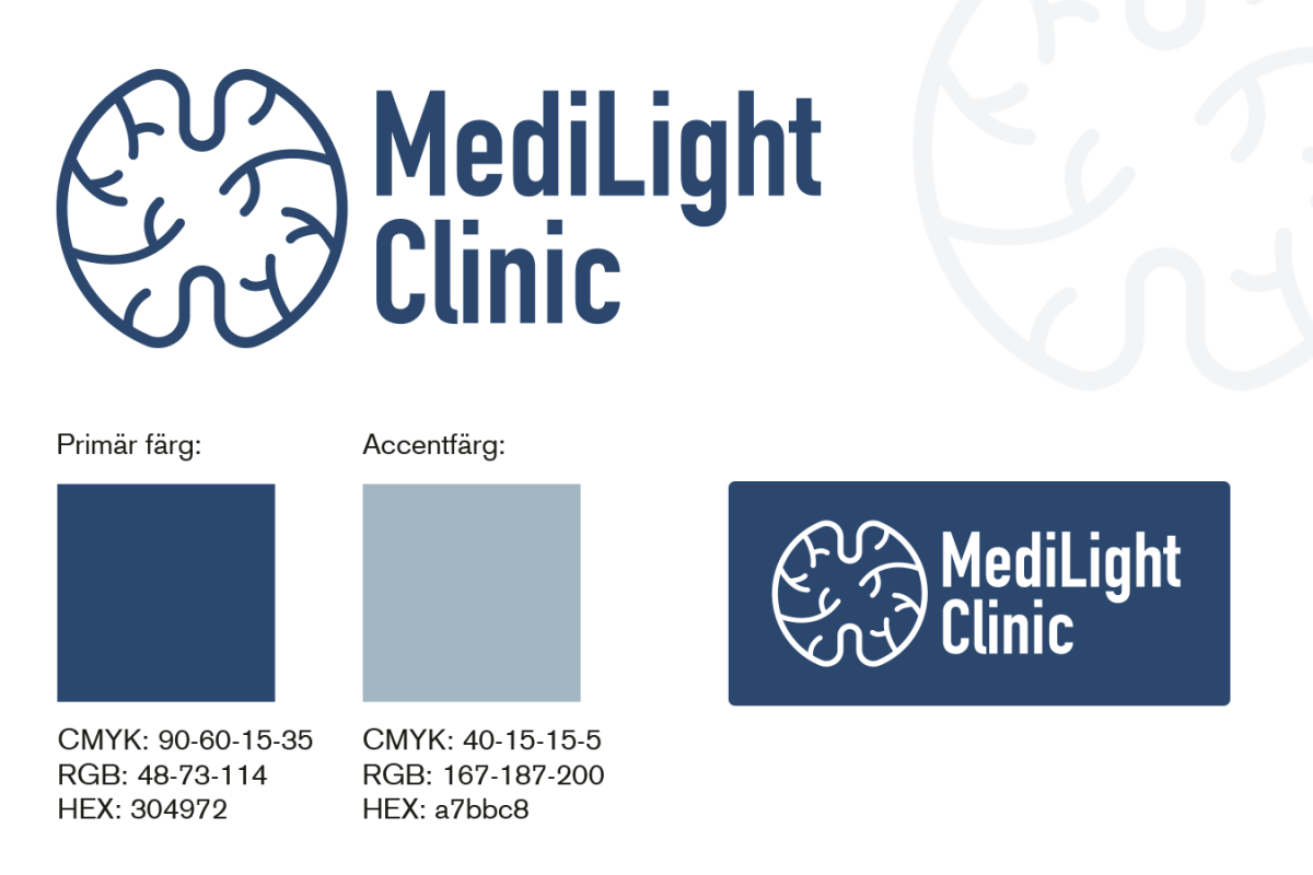 Logotyp framtagen av Xtrovert Media, reklambyrå i Göteborg, till MediLight Clinic Sweden AB.