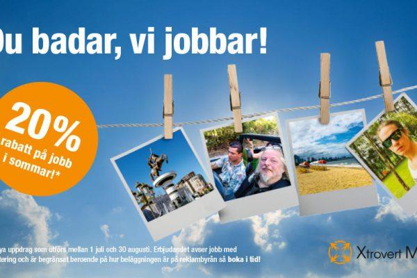 Sommarerbjudande 2019, 20% rabatt på jobb från Xtrovert Media, reklambyrå i Göteborg.