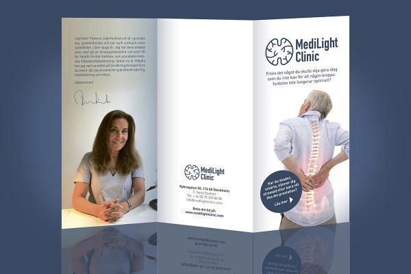 I nära samarbete med kunden tog Xtrovert Media (reklambyrå i Göteborg) fram en folder med information om applicerad neurologi och behandlingarna som utförs av kliniken.