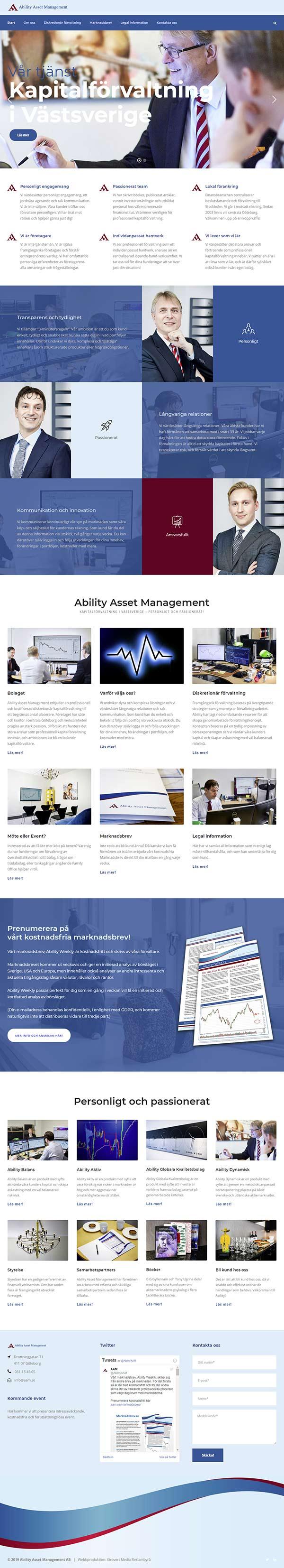 Webbproduktion av Xtrovert Media Reklambyrå. Ny webbsida till AAM (Ability Asset Management).