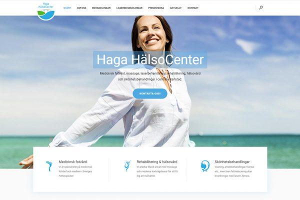 Webbproduktion av Xtrovert Media Reklambyrå. Ny webbsida till Haga HälsoCenter i Karlstad.