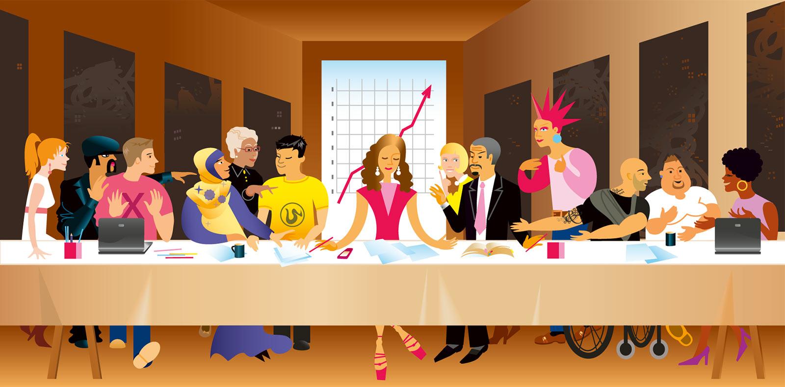Illustration av Tamara Kryvolap för Xtrovert Media Reklambyrå - vikten av att ha blandade arbetsgrupper