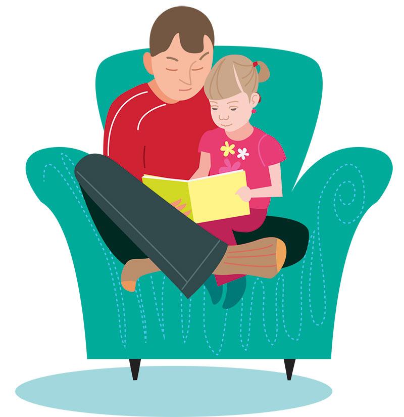 Illustration av Tamara Kryvolap till Barnplantornas handbok i familjeintervention.