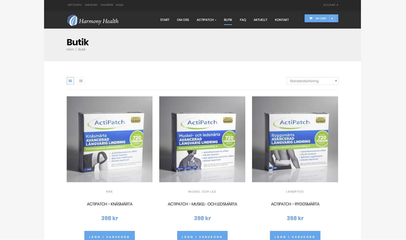 E-handelsbutik för Harmony Health gjord av Xtrovert Media, reklambyrå i Göteborg