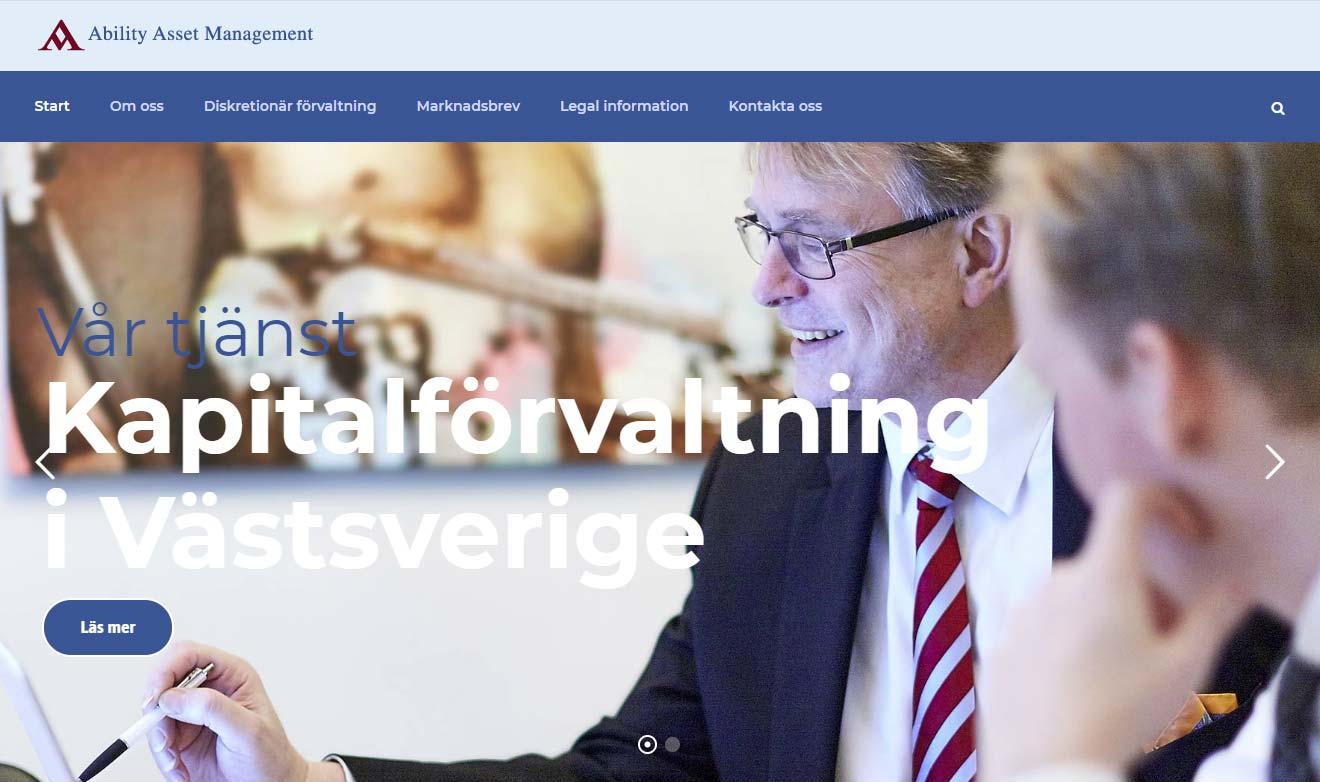 Webbsida för AAM (Ability Asset Management) av Xtrovert Media, reklambyrå i Göteborg