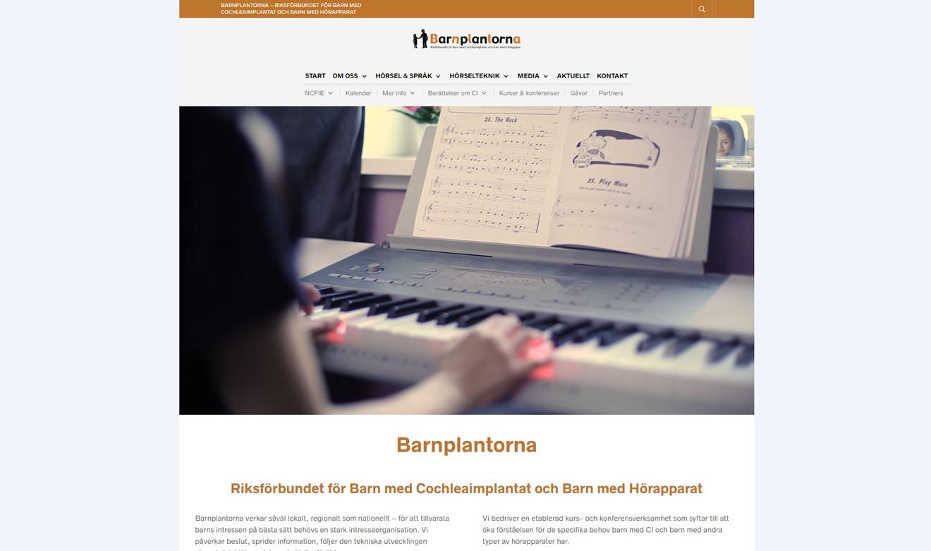 Webbsida för Barnplantorna av Xtrovert Media, reklambyrå i Göteborg