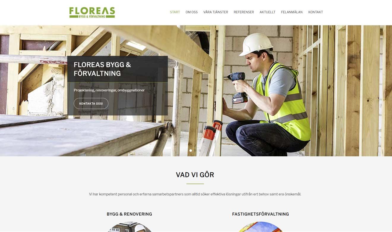 Webbsida för Floreas Bygg & Förvaltning gjord av Xtrovert Media, reklambyrå i Göteborg