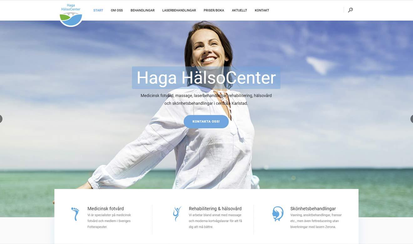 Webbsida för Haga HälsoCenter av Xtrovert Media, reklambyrå i Göteborg