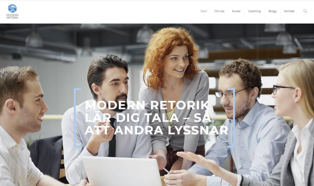 Webbsida för Modern Retorik (Kronkvist Kommunikation) av Xtrovert Media, reklambyrå i Göteborg